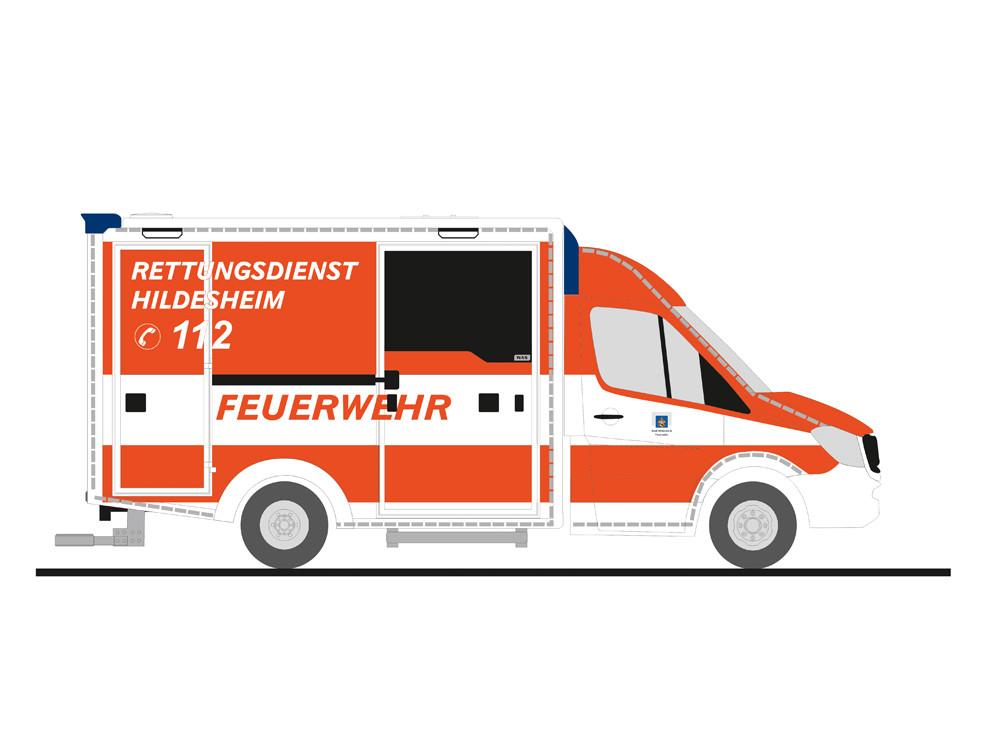 Rietze MB Sprinter RTW Feuerwehr Hildesheim (BF), NH 07-08/19
