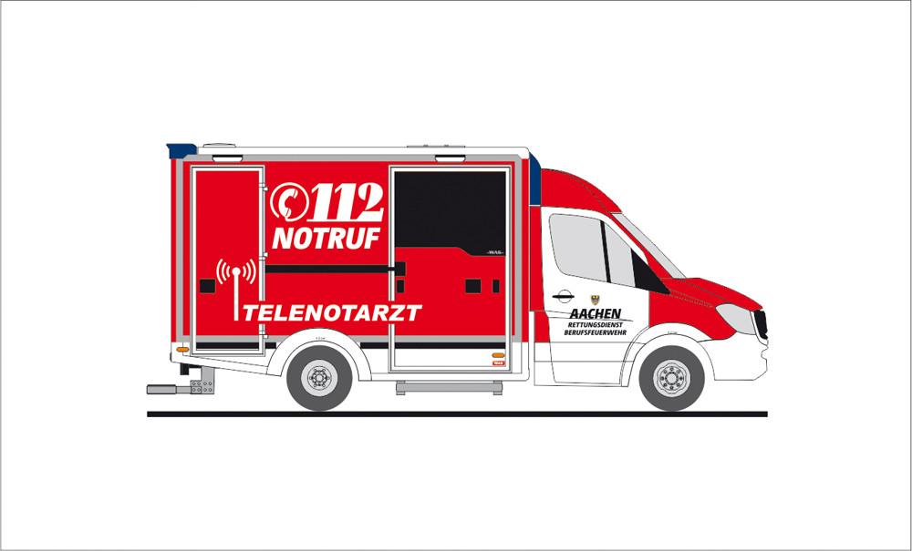 Rietze MB Sprinter RTW Feuerwehr Aachen, NH 11-12/19 (Einzelstück)