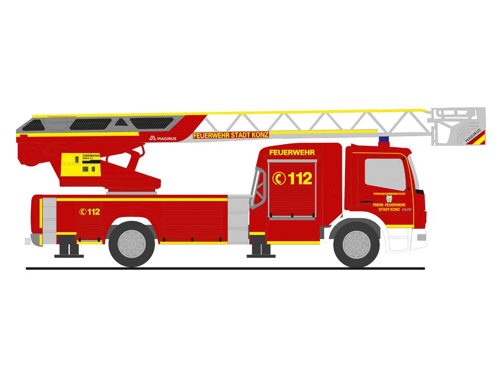 Rietze MB Atego DLK L32 E6 Feuerwehr Konz, NH 03-04/19,(Vorbestellung / Modell noch nicht lieferbar !!!)