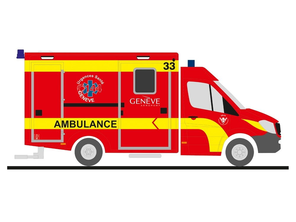 Rietze MB Sprinter RTW Ambulance Geneve (CH), NH 11-12/18