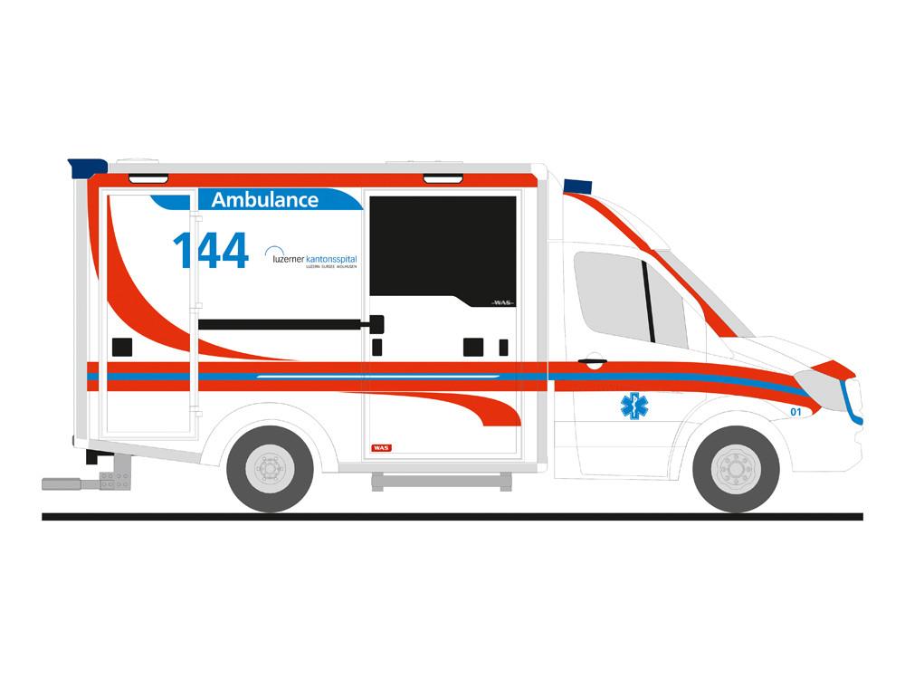 Rietze MB Sprinter 13 RTW Ambulance Luzern (CH), NH 03-04/19,(Vorbestellung / Modell noch nicht lieferbar !!!)