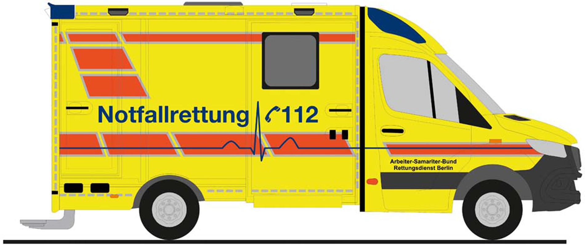 """Rietze MB Sprinter 18 SROBEL RTW """" ASB Berlin """", NH Herbst 2020,(Vorbestellung / Modell noch nicht lieferbar !!!)"""