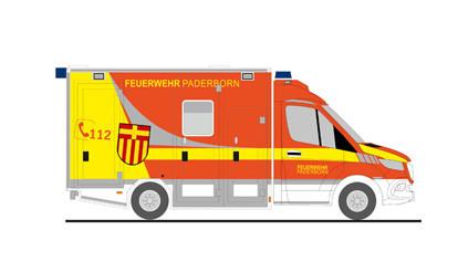 """Rietze Einsatz-Serie MB Sprinter 18 GSF """" RTW Feuerwehr Paderborn """", NH 11-12/20,(Vorbestellung / Modell noch nicht lieferbar !!!)"""
