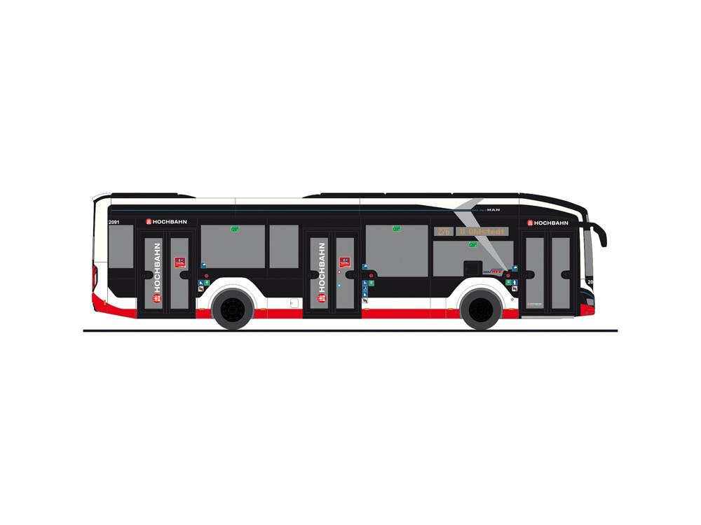 """Rietze MAN Lion`s City 12 `18 electric """"  Hamburger Hochbahn Linie 276 U Ohlstedt  """", NH 09-10/20,(Vorbestellung / Modell noch nicht lieferbar !!!)"""