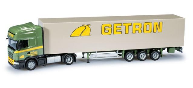 """Herpa  Scania R TL Koffer-Sattelzug """"Getron"""" -Einzelstück-"""