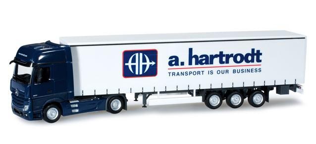 """Herpa MB Actros Gigaspace Gardinenplanen-Sattelzug """"a.hartrodt"""" -Einzelstück-"""