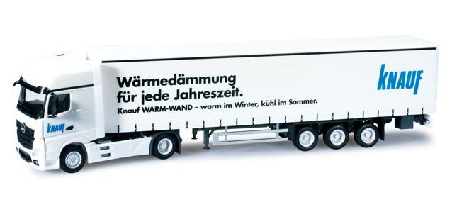 """Herpa Mercedes-Benz Actros Gigaspace Planen-Sattelzug """"Knauf"""" (Einzelstück)"""