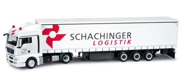 "Herpa  MAN TGX XLX Gardinenplanen-Sattelzug ""Schachinger"" -Einzelstück-."