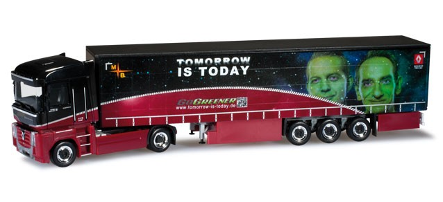 "Herpa Renault Magnum Gardinenplanen-Sattelzug ""tomorrow is today"" -Einzelstück-"