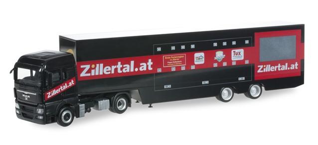 """Herpa  MAN TGX XL Koffer-Sattelzug """"Zillertal-Truck"""" -Einzelstück-"""
