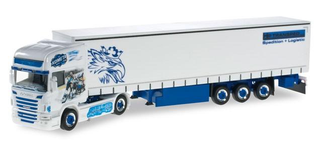 "Herpa Scania R TL Gardinenplanen-Sattelzug ""Brno"" -Einzelstück-"