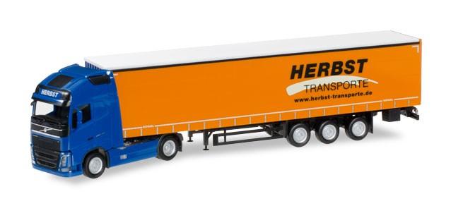 """Herpa  Volvo FH Gl. XL Gardinenplanen-Sattelzug """"Herbst"""" -Einzelstück-"""