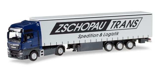 """Herpa MAN TGX XXL Gardinenplanen-Sattelzug """"Zschopau Trans"""" -Einzelstück-"""