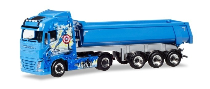 """Herpa Volvo FH GL Rundmulden-Sattelzug """"BW Trans / Avengers Truck"""""""