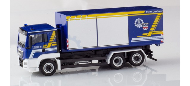 """Herpa MAN TGS L E6 Wechsellader-LKW """"THW""""(Sondermodell)"""