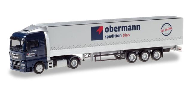 "Herpa MAN TGX XLX Pritschen/Planen Sattelzug ""Obermann Logistik"""