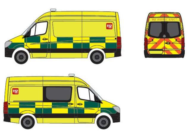 Herpa MB Sprinter 13 RTW Ambulance Croix-Rouge (B)
