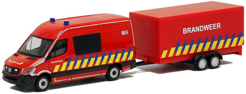 Herpa MB Sprinter 13 mit Anhänger Brandweer (B)