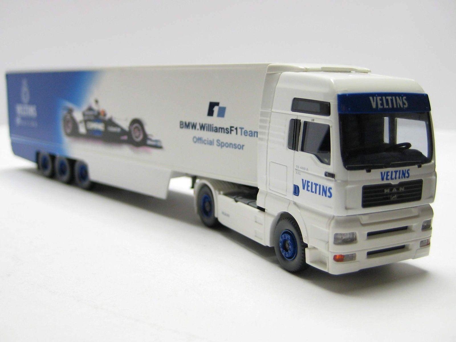 Wiking Werbemodell VELTINS '11' F1 Racing 2001 MAN TGA Koffer-Sattelzug -Einzelstück-