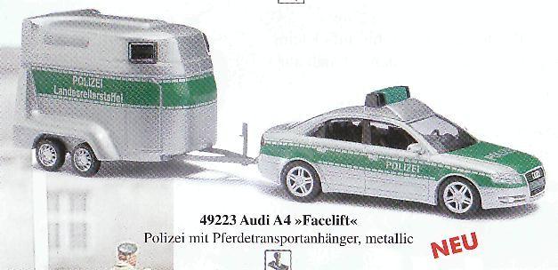 Busch Audi A4 facelift mit Pferdeanhänger Polizei