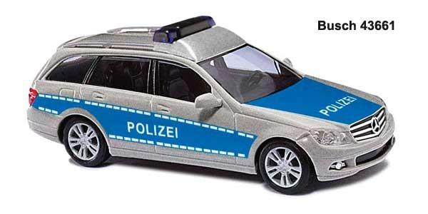 Busch MB C-Klasse T-Modell Polizei blau/silber
