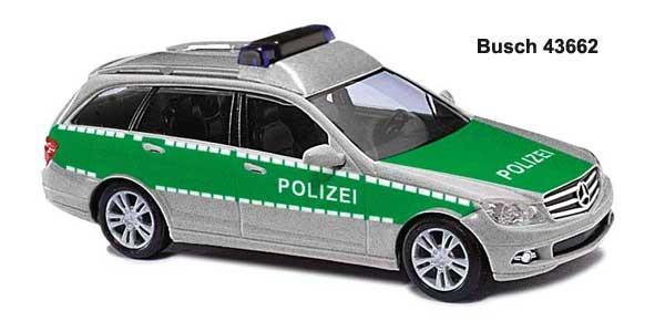 Busch MB C-Klasse T-Modell Polizei grün/silber