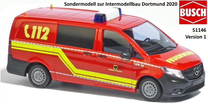 Busch MB Vito LKW 28 Feuerwehr Dortmund ( Sondermodell Intermodellbau 2020)