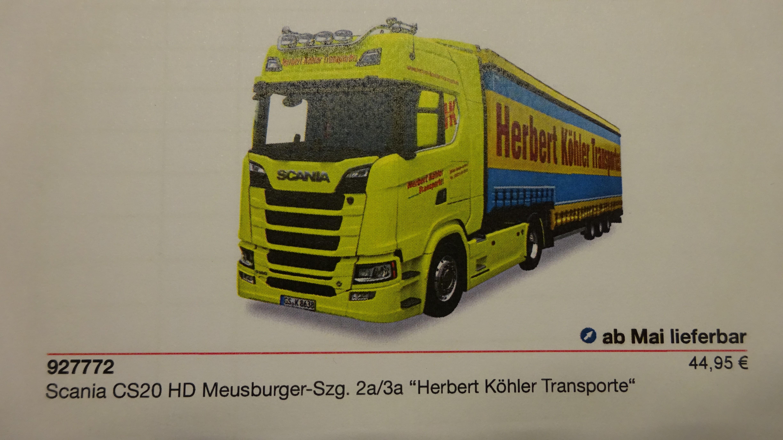 Herpa Scania CS 20 HD Herbert Köhler Transporte, Sondermodell Norden