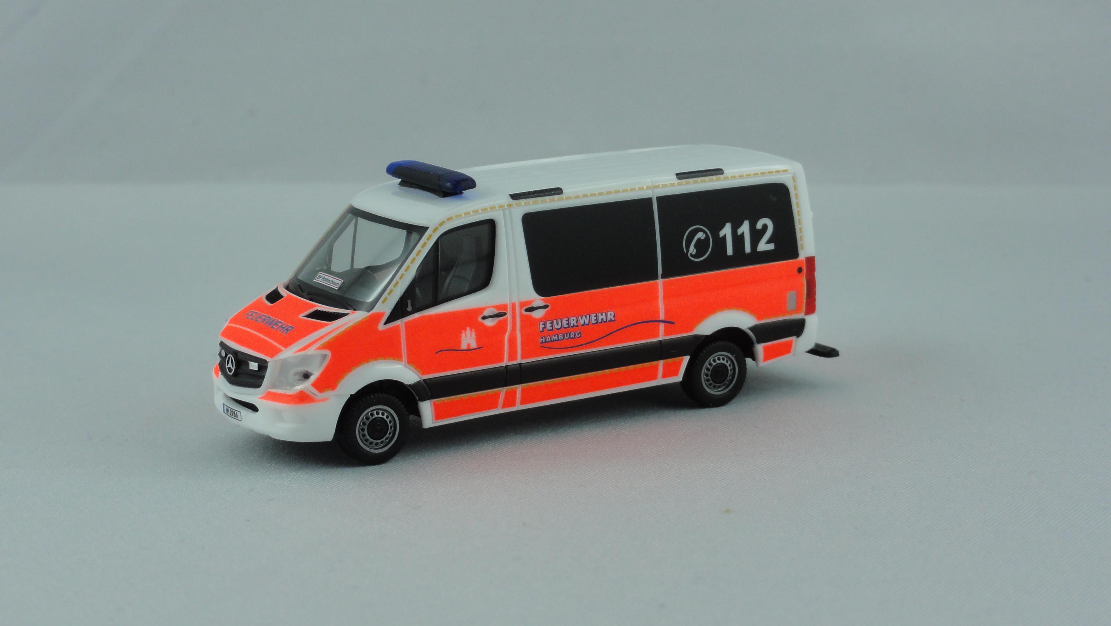 Herpa MB Sprinter 13 ELW Feuerwehr BF Hamburg Rotherbaum