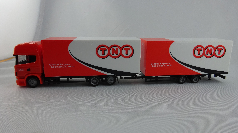 Herpa Scania R Topline Jumbokoffer- Hängerzug TNT Global Express, Logistics & Mail