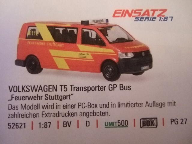 Rietze Einsatz Serie VW T5 GP KR MTW Feuerwehr Stuttgart -Birkach