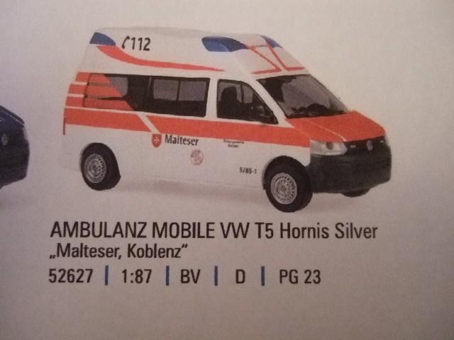 Rietze VW T5 LR Hornis KTW MHD Koblenz -Einzelstück-
