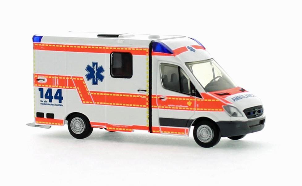 Rietze MB Sprinter 06 Strobel RTW Ambulance Schaffhausen (CH)