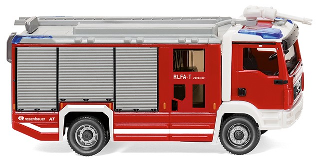 Wiking MAN TGM Rosenbauer AT RLFA-T Feuerwehr in RAL 3000,