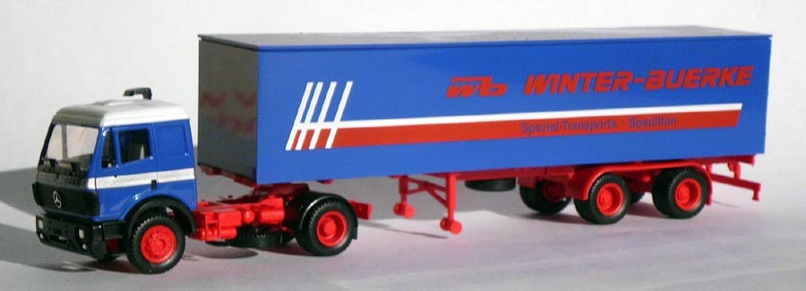 Herpa MB 1735 Koffer-Sattelzug wb Winter-Buerke, Spezial-Transporte Spedition -Einzelstück-