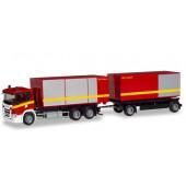 """Herpa Scania CG 17 Abrollcontainer-Hängerzug """"Feuerwehr"""", NH 03-04/19"""