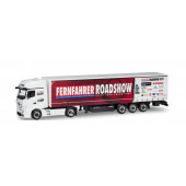 "Herpa MB Actros Gigaspace Gardinenplanensattelzug ""Fernfahrer - Truck Grand Prix 2019"""